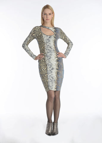 Cutout Animal Print Body-con Dress