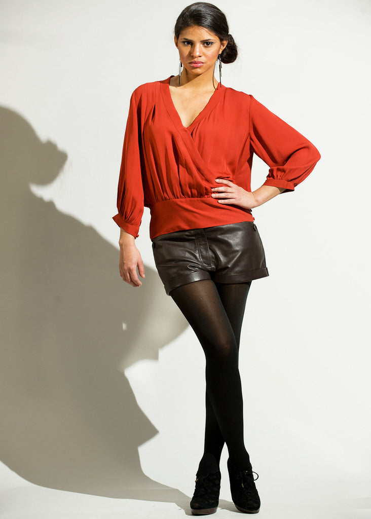 Silk wrap front top with side buttons