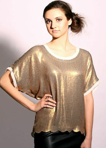Metallic Gold all over sequins top with scalloped hem