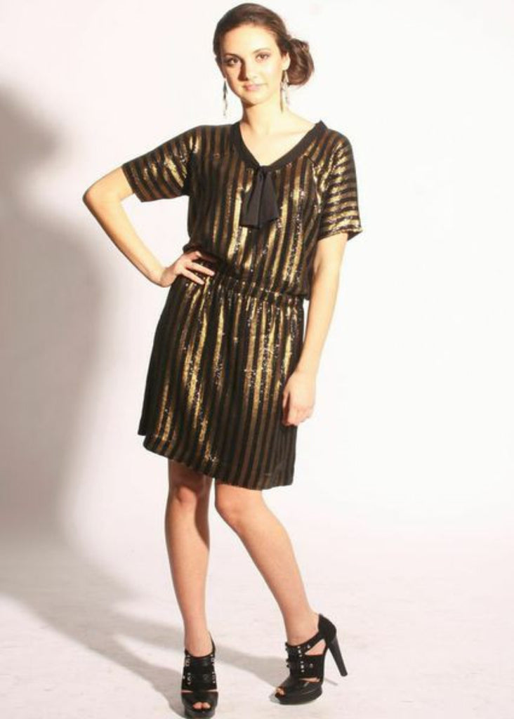 Metallic Gold and Black striped All Over Sequin Party Dress