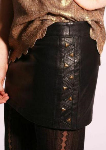 Leather Mini skirt w/ Studded side detail