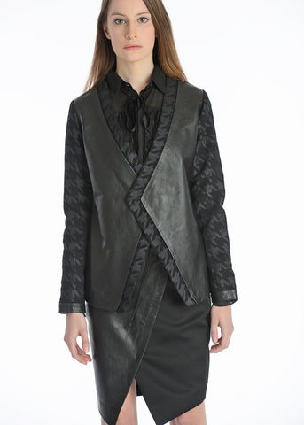 Leather and houndstooth suit jacket