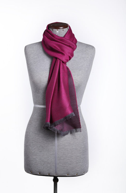Luxury Pure Peruvian Baby Alpaca Wool & Silk Reversible Scarf for Men & Women - Peru Gift Shop