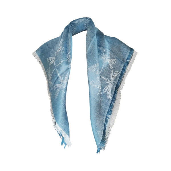 Stylish Dragonfly Design Year Round Reversible Scarves for Men & Women - 70% Peruvian Baby Alpaca / 30% Natural Silk