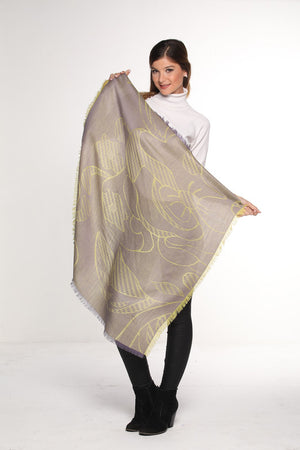 Luxury Pure Peruvian Baby Alpaca Wool & Silk Reversible Square Shawl for Women Nature Design
