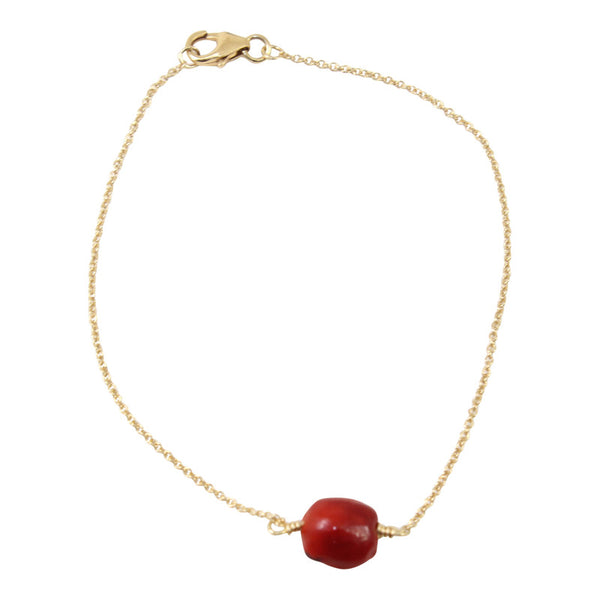 "Gold Filled 18kt Classic Adjustable Bracelet w/Red & Black Seed Beads 6.5""-7.5"" - Peru Gift Shop"