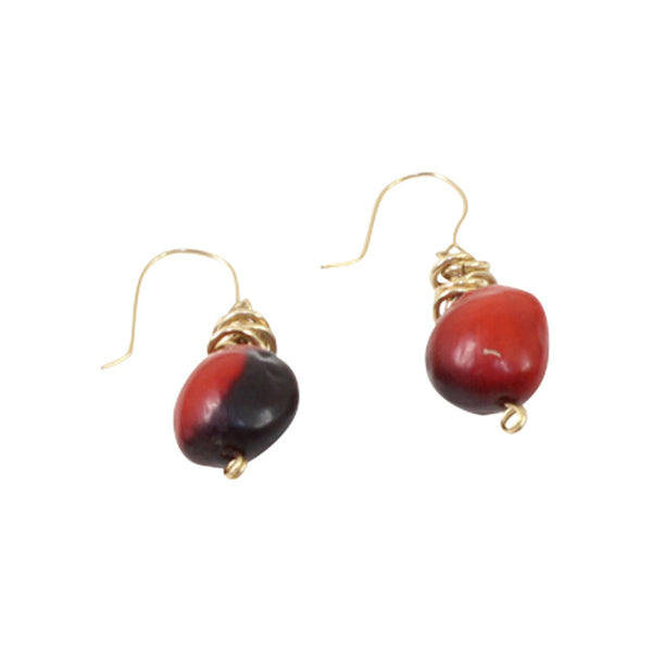Gold Filled 18kt Classic Dangle Drop Earrings w/Good Luck Red & Black Seed Beads