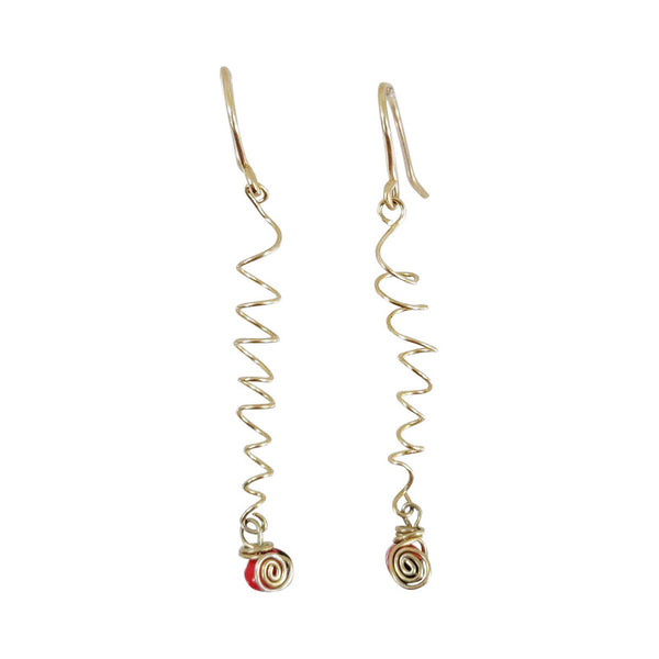Gold Filled Dangle Long Drop Red Good Luck Earrings