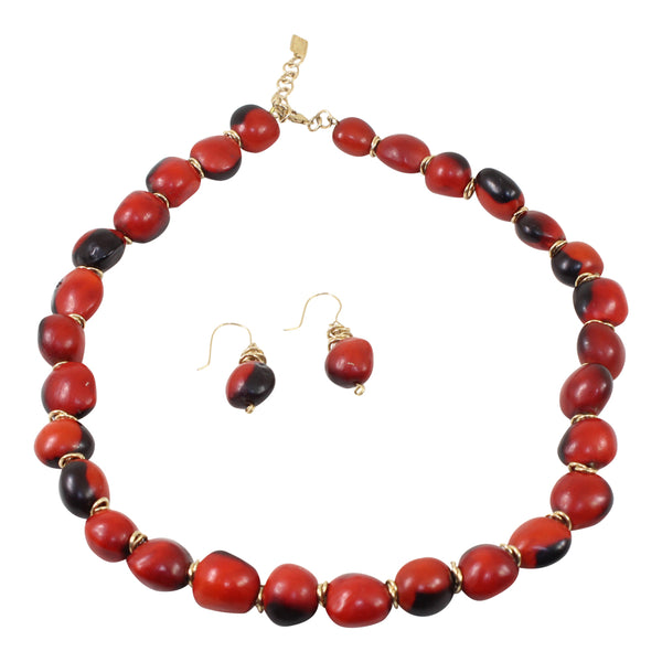 "Gold Filled Adjustable Good Luck Necklace 16""-18"" & Dangle Huayruro Red & Black Earrings"