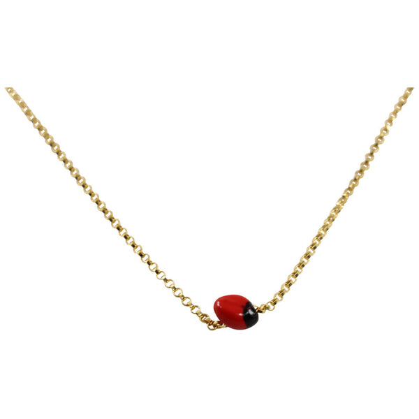 Sterling Silver/Gold Good Luck Single Seed Necklace