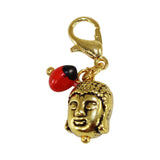 "Gold Tone Interchangeable Charms w/Good Luck Huayruro Seed Beads  1"" approx - Peru Gift Shop"