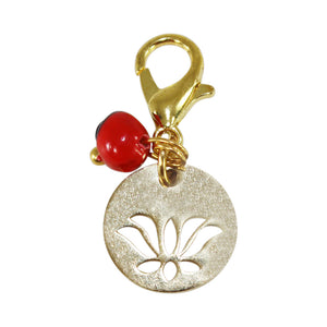 "Gold Tone Interchangeable Charms w/Good Luck Huayruro Seed Beads  1"" approx"