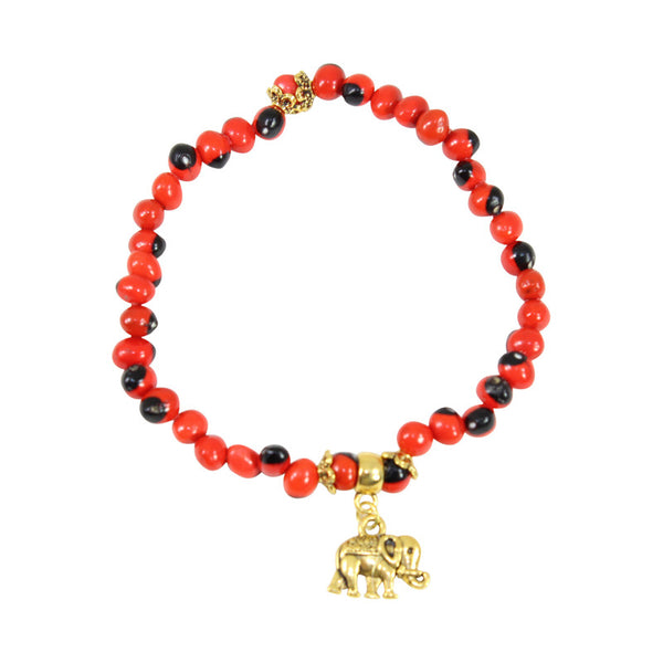 "Gold Tone Stretchy Elephant, Queen Bee & Tree of Life Charm Bracelet Set w/Red & Black Seed Beads 6.5""-7.5"""