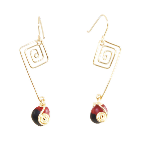 Sterling Silver/ Gold Filled Dangle Long Drop Red & Black Good Luck Earrings