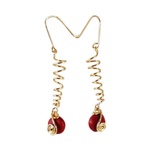 Sterling Silver/ Gold Filled Dangle Long Drop Red Good Luck Earrings