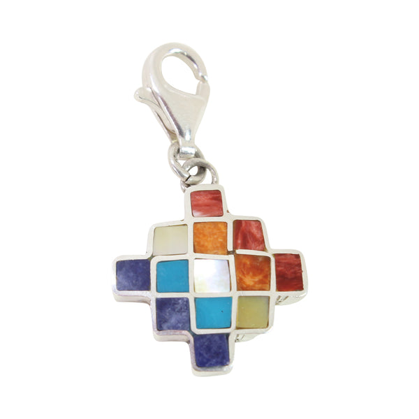 "Sterling Silver ""Inka Cross-Chakana"" Meaningful Charm with Peruvian Natural Stones"