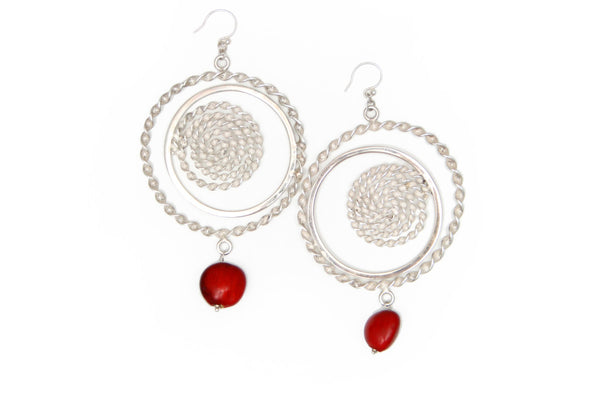 Nazca Sterling Silver Dangle Red Good Luck Earrings 2.5""