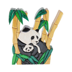 Panda Bear Reversible  Handmade  WoodWork Puzzle - Symbol of Strength - Peru Gift Shop