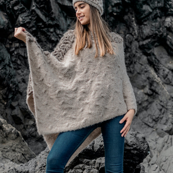"Baby Alpaca - Knit Poncho Cape ""Angela"" - One Size Fits All"