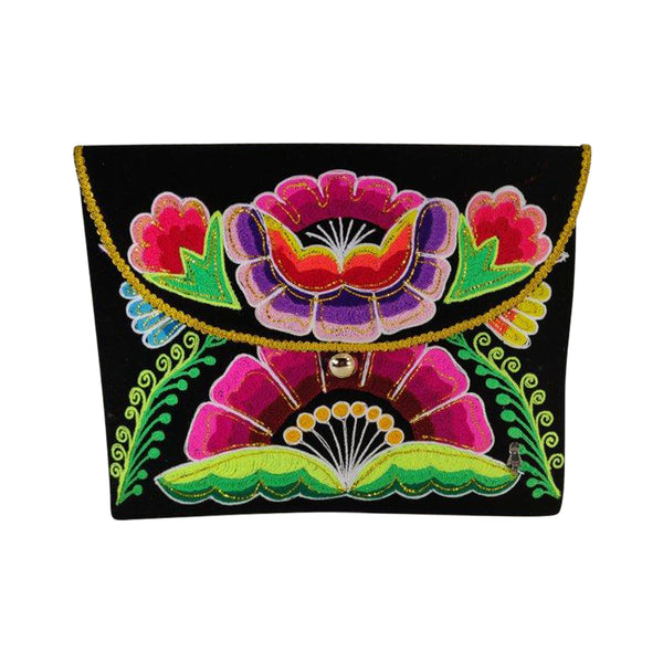 """Agustina"" Luxury Elegant Evening Clutch Purse with Exquisite Hand Embroidered Flower Design"
