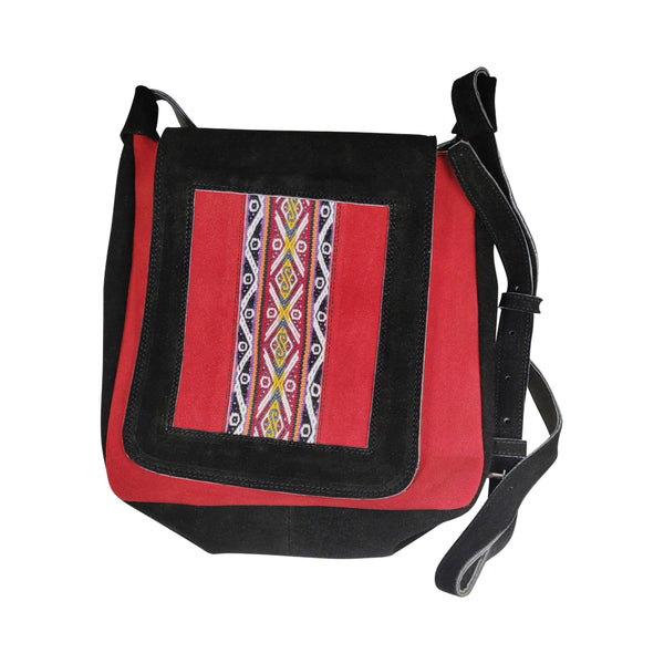 100% Genuine Leather Messenger Strap Crossover Shoulder Business Bag w/Tradicional Handmade Peruvian Textiles