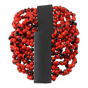 "Good Luck Wrap Adjustable Stretchy Bracelet w/Red & Black Seed Beads 6.5""-7.5"""