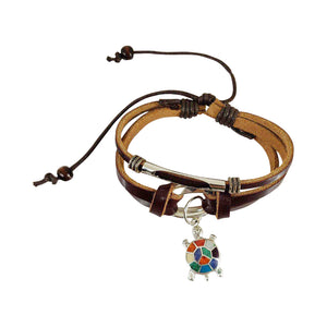 "Sterling Silver ""Turtle Charm"" Symbol of Good Health & Long Life"" Adjustable Leather Bracelet"