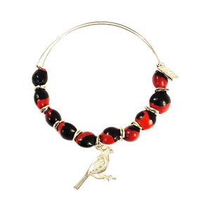 "Sterling Silver Filigree ""Cardinal"" charm Symbol Hope, Health, and Joy Adjustable Bracelet"