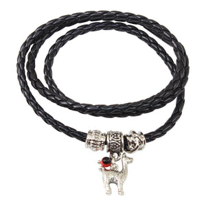 Black Leather Adjustable Meaningful Good Luck Charm Bracelet
