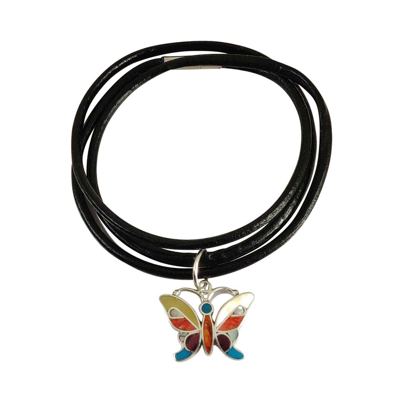 "Sterling Silver ""Lifefulnes Butterfly"" Adjustable Leather Bracelet"