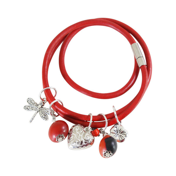 Good Luck Multi-Charm Leather Adjustable Bracelet w/Red & Black Seed Beads