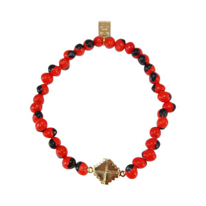 "Gold Filled 18kt Chakana Inka Cross Stretchy Bracelet w/Red & Black Seed Beads 6.5""-7.5"""