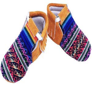 Baby Infant Toddler Shoes Slip-on Soft Sole Leather Moccasins Pre-Walkers w/Handmade Peruvian Textiles