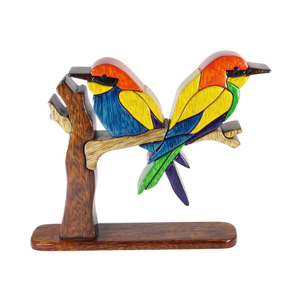 Magical & Powerful Beeater Bird Reversible Handmade  Puzzle Woodwork - Peru Gift Shop