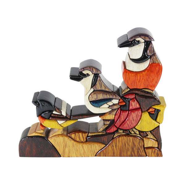 Bird Family Reversible Handmade Woodwork Puzzle - Symbol of Unity - Peru Gift Shop