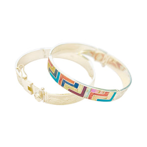 "Sterling Silver Geometric Multicolored Natural Stone Cuff Bracelet 6.5"" - 7.5"""