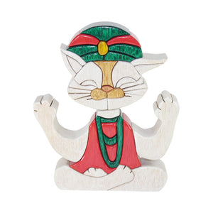Guru Yoga Cat Lover Reversible Handmade Woodwork Puzzle - Symbol of Good Luck - Peru Gift Shop
