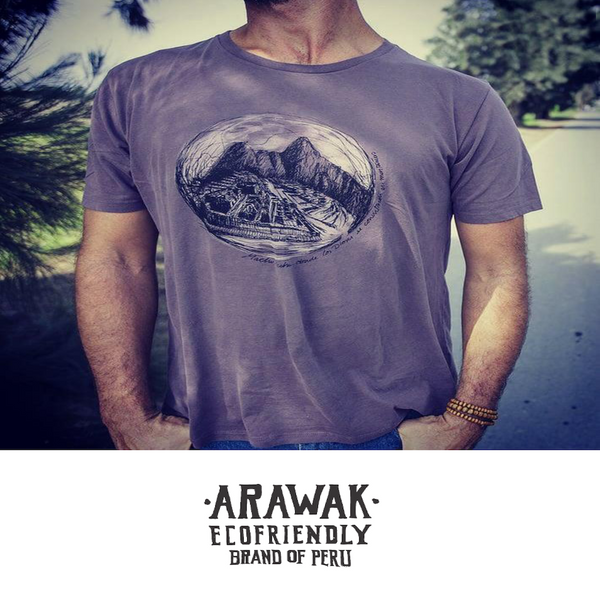 ARA-WAK Peruvian Machu Pichu Short Sleeve Men's Crew Neck - 100% Organic Peruvian Pima Cotton