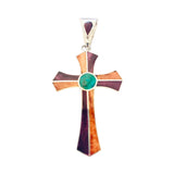 "Sterling Silver Unisex Multi- Colored "" Cross "" Pendant"