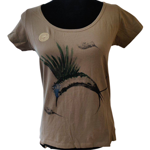 ARA-WAK Hummingbird Short Sleeve Women's Deep Crew Neck - 100% Organic Peruvian Pima Cotton