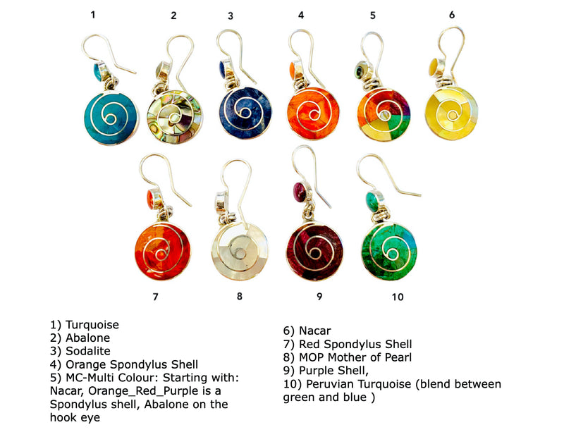 "Sterling Silver ""Happiness Infinity Multicolored"" Natural Stone Dangle Earrings"
