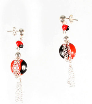 Sterling Silver Dangle Long Drop Red & Black Good Earrings