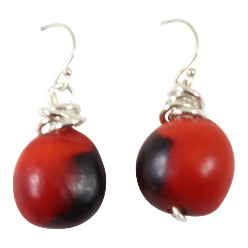 Gold Filled 18kt Classic Dangle Drop Earrings w/Good Luck Red & Black Seed Beads - Peru Gift Shop