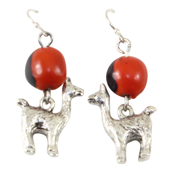 "Silver Tone Dangle Drop Good Luck Earrings Red & Black Seed Beads 1.25"" - Peru Gift Shop"