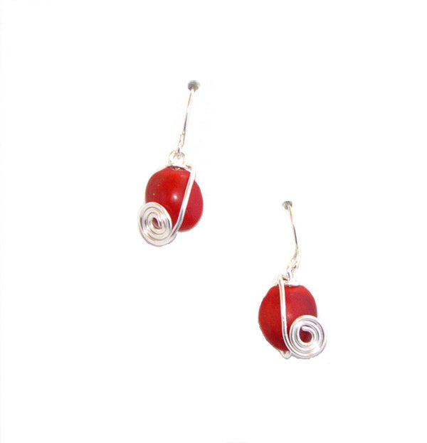 Sterling Silver Dangle Red & Black Good Luck Earrings