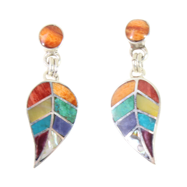 "Sterling Silver ""Colorful Leaves"" Natural Stone Dangle Earrings"