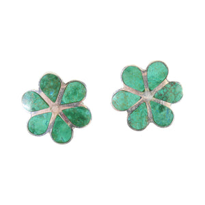 "Sterling Silver ""Blossom Flower"" Natural Stone Post Earrings"