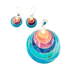 "Sterling Silver ""Moon Eclipse"" Multicolored Natural Stone Pendant/Earrings 18""-20"""