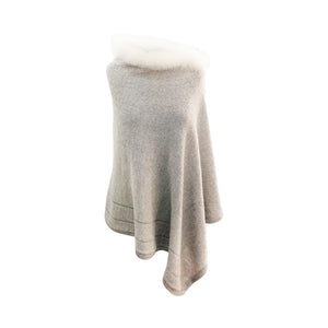 Baby Alpaca - Knit Poncho Cape with Fur Neck - One Size Fits All