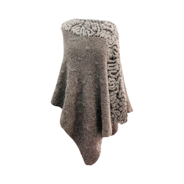 Baby Alpaca - Knit Cape with Fur Neck - One Size Fits All